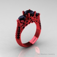 Classic 14K Red Gold Three Stone Black Diamond Solitaire Engagement Ring Wedding Ring R200-14KREGBD