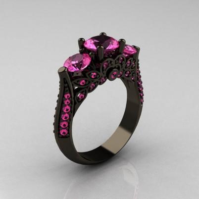 Classic-Three-Stone-Black-Gold-Pink-Sapphire-Engagement-Ring-R200-BGPS-P-402×402