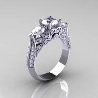 Classic 950 Platinum Three Stone Cubic Zirconia Diamond Solitaire Ring R200-PLATDCZ