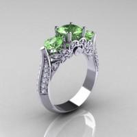 Classic 950 Platinum Three Stone Green Topaz Diamond Solitaire Ring R200-PLATDGT