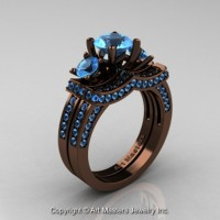 Exclusive French 14K Chocolate Brown Gold Three Stone Blue Topaz Engagement Ring Wedding Band Set R182S-14KBRGBT
