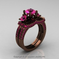 Exclusive French 14K Chocolate Brown Gold Three Stone Pink Sapphire Engagement Ring Wedding Band Set R182S-14KBRGPS