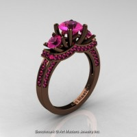 Exclusive French 14K Chocolate Brown Gold Three Stone Pink Sapphire Engagement Ring R182-14KBRGPS
