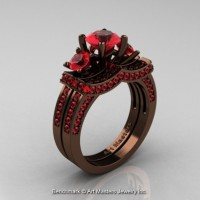 Exclusive French 14K Chocolate Brown Gold Three Stone Rubies Engagement Ring Wedding Band Set R182S-14KBRGR