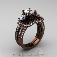 Exclusive French 14K Chocolate Brown Gold Three Stone White Sapphire Engagement Ring Wedding Band Set R182S-14KBRGWS