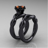 Faegheh Modern Classic 14K Black Gold 1.0 Ct Orange Sapphire Engagement Ring Wedding Band Set R290S-14KBGOS