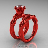 Faegheh Modern Classic 14K Red Gold 1.0 Ct White Sapphire Engagement Ring Wedding Band Set R290S-14KREGWS