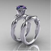 Faegheh Modern Classic 14K White Gold 1.0 Ct Russian Alexandrite Engagement Ring Wedding Band Set R290S-14KWGAL