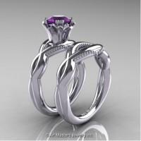 Faegheh Modern Classic 14K White Gold 1.0 Ct Amethyst Engagement Ring Wedding Band Set R290S-14KWGAM