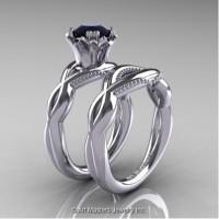 Faegheh Modern Classic 14K White Gold 1.0 Ct Black Diamond Engagement Ring Wedding Band Set R290S-14KWGBD