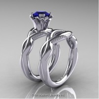 Faegheh Modern Classic 14K White Gold 1.0 Ct Blue Sapphire Engagement Ring Wedding Band Set R290S-14KWGBS
