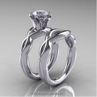 Faegheh Modern Classic 14K White Gold 1.0 Ct White Sapphire Engagement Ring Wedding Band Set R290S-14KWGWS