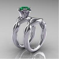 Faegheh Modern Classic 14K White Gold 1.0 Ct Emerald Engagement Ring Wedding Band Set R290S-14KWGEM