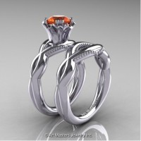 Faegheh Modern Classic 14K White Gold 1.0 Ct Orange Sapphire Engagement Ring Wedding Band Set R290S-14KWGOS