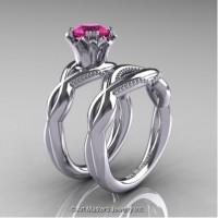 Faegheh Modern Classic 14K White Gold 1.0 Ct Pink Sapphire Engagement Ring Wedding Band Set R290S-14KWGPS