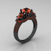 Exclusive 14K Matte Black Gold Three Stone Orange Sapphire Engagement Ring Wedding Ring R182-14KMBGOS