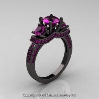 French 14K Black Gold Three Stone Amethyst Wedding Ring Engagement Ring R182-14KBGAM