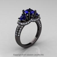 French 14K Black Gold Three Stone Blue Sapphire Diamond Engagement Ring R182-14KBGDBS