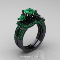 French 14K Black Gold Three Stone Emerald Engagement Ring Wedding Band Bridal Set R182S-14KBGEM