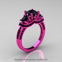 French 14K Pink Gold Three Stone Black Diamond Wedding Ring Engagement Ring R182-14KPGBD