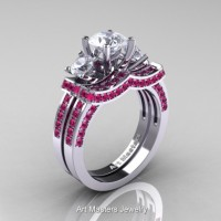 French 950 Platinum Three Stone White and Pink Sapphire Engagement Ring Wedding Band Set R182S-PLATPSWS