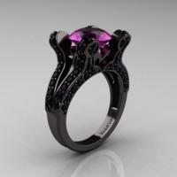 French Vintage 14K Black Gold 3.0 CT Amethyst Pisces Wedding Ring Engagement Ring Y228-14KBGAM