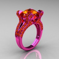French Vintage 14K Pink Gold 3.0 CT Orange Sapphire Pisces Wedding Ring Engagement Ring Y228-14KPGOS