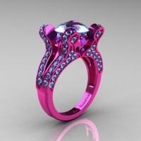 French Vintage 14K Pink Gold 3.0 CT Blue Topaz Pisces Wedding Ring Engagement Ring Y228-14KPGBT