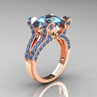French Vintage 14K Rose Gold 3.0 CT Blue Topaz Pisces Wedding Ring Engagement Ring Y228-14KRGBT