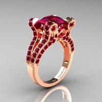 French Vintage 14K Rose Gold 3.0 CT Raspberry Red Garnet Pisces Wedding Ring Engagement Ring Y228-14KRGRRG