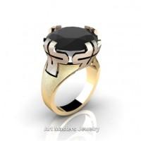 Italian 14K Two Tone Rose Yellow Gold 10.0 Ct Black Diamond Bridal Cocktail Ring R51-14KRYGBD