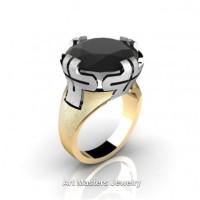 Italian 14K Two Tone White Yellow Gold 10.0 Ct Black Diamond Bridal Cocktail Ring R51-14KWYGBD