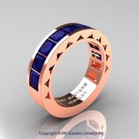 Mens Modern 14K Rose Gold Princess Blue Sapphire Channel Set Wedding Ring R274M-14KRGBS