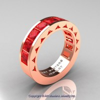 Mens Modern 14K Rose Gold Princess Ruby Channel Set Wedding Ring R274M-14KRGR