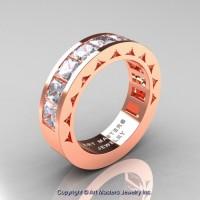 Mens Modern 14K Rose Gold Princess White Sapphire Channel Set Wedding Ring R274M-14KRGWS