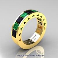 Mens Modern 14K Yellow Gold Princess Black Diamond Emerald Channel Set Wedding Ring R274M-14KYGEMBD