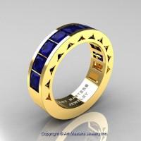 Mens Modern 14K Yellow Gold Princess Blue Sapphire Channel Set Wedding Ring R274M-14KYGBS