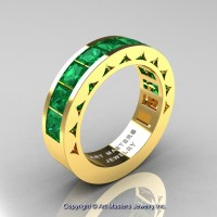 Mens Modern 14K Yellow Gold Princess Emerald Channel Set Wedding Ring R274M-14KYGEM