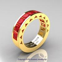 Mens Modern 14K Yellow Gold Princess Ruby Channel Set Wedding Ring R274M-14KYGR
