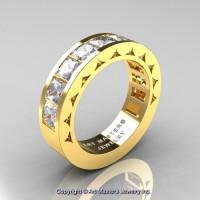 Mens Modern 14K Yellow Gold Princess White Sapphire Channel Set Wedding Ring R274M-14KYGWS