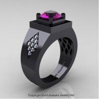Mens Modern Classic 14K Black Gold 2.0 Ct Amethyst Diamond Designer Wedding Ring R338M-14KBGDAM
