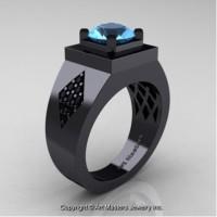 Mens Modern Classic 14K Black Gold 2.0 Ct Blue Topaz Black Diamond Designer Wedding Ring R338M-14KBGBDBT