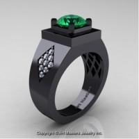Mens Modern Classic 14K Black Gold 2.0 Ct Emerald Diamond Designer Wedding Ring R338M-14KBGDEM