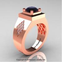Mens Modern Classic 14K Rose Gold 2.0 Ct Black and White Diamond Designer Wedding Ring R338M-14KRGDBD