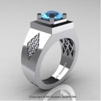 Mens Modern Classic 14K White Gold 2.0 Ct Blue Topaz Diamond Designer Wedding Ring R338M-14KWGDBT