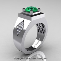 Mens Modern Classic 14K White Gold 2.0 Ct Emerald Diamond Designer Wedding Ring R338M-14KWGDEM