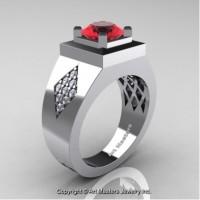 Mens Modern Classic 14K White Gold 2.0 Ct Ruby Diamond Designer Wedding Ring R338M-14KWGDR