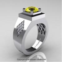 Mens Modern Classic 14K White Gold 2.0 Ct Yellow Sapphire Diamond Designer Wedding Ring R338M-14KWGDYS