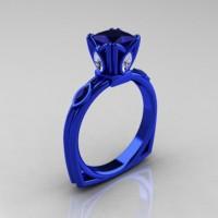 Modern Antique 14K Blue Gold 1.20 CT Princess Blue Sapphire Marquise CZ Solitaire Ring R219-14KBLGCZBS