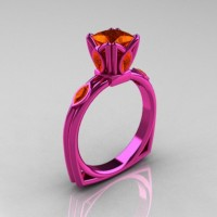 Modern Antique 14K Pink Gold 1.20 CT Princess Marquise Orange Sapphire Solitaire Ring R219-14KPGOS
